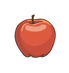 red apple cartoon drawing fresh fruit vector image