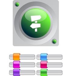 Road arrows color round button vector image