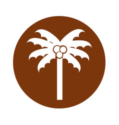 round icon beach palm cartoon vector image