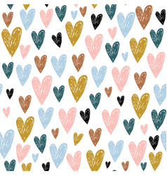 Seamless childish pattern with hand drawn hearts vector