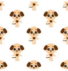 seamless pattern of cartoon dog on white vector image