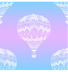 seamless pattern of doodle hot air balloon vector image