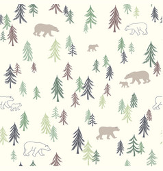 seamless pattern with trees and bears vector image