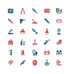 Set color icons welding and soldering vector