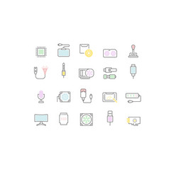 Set line icons upgrading computer components vector