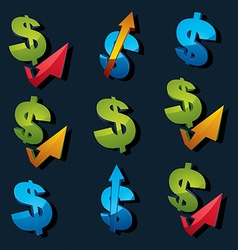 Set of 3d blue and green dollar signs with vector