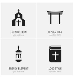 Set of 4 editable religion icons includes symbols vector