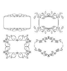 set of floral frames vector image