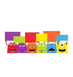 set of funny cartoon monsters with dialogue vector image