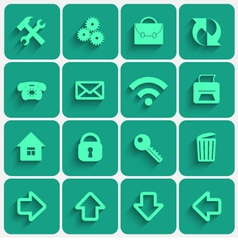 Set of GreenSea Flat Style Square Buttons vector image