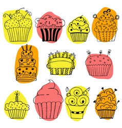 set of hand drawn cupcakes on white background vector image