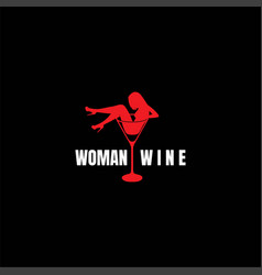 sexy hot woman lady girl female silhouette wine vector image