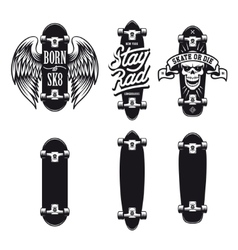 Skateboarding t-shirt design set Quotes about vector