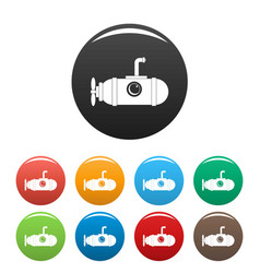 small submarine icons set color vector image
