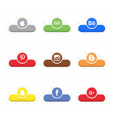 social media icon set with light background vector image