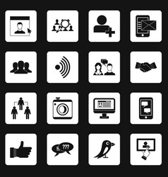 Social network icons set squares vector