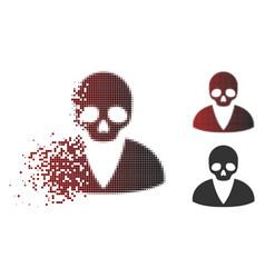 Sparkle pixelated halftone death man icon vector