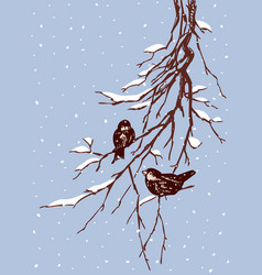 Sparrows on tree branches vector
