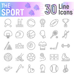 sport thin line icon set fitness signs collection vector image
