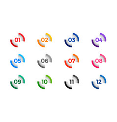 Stylish number buller points from one to twelve vector