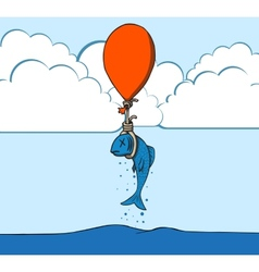 Suicide fish with balloon vector image