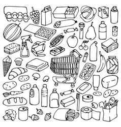 Supermarket doodle set vector