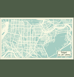 Taipei taiwan city map in retro style outline map vector