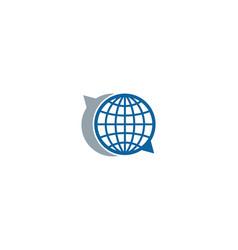 Talk globe logo icon design vector