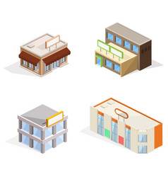 Trade buildings isometric 3d vector