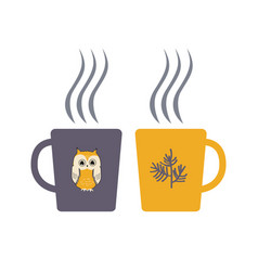 Two cartoon cups with hot drink hygge vector