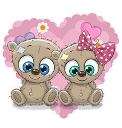 Two cute cartoon bears vector