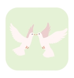 Two doves cartoon icon vector image