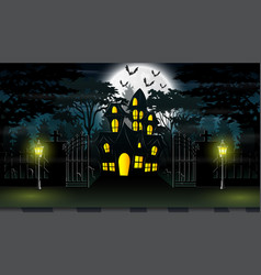 View of a haunted house with a background of full vector