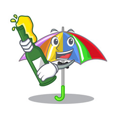With beer playing rain with umbrella rainbow vector