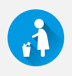 Women throwing garbage in a basket icon with long vector