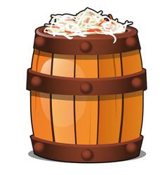 wooden barrel filled with fermented vegetarian vector image