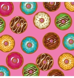 glazed set donuts sweet with pink background vector image vector image