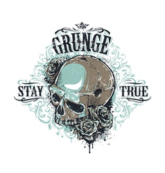 Grunge Skull Print 3 vector image vector image