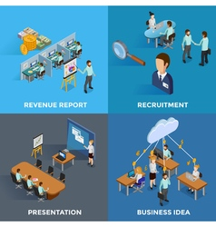 Isometric business 2x2 icons set vector