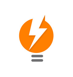 orange lamp abstract logo lighbulb with white vector image vector image