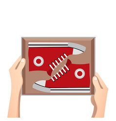 sneakers with box vector image
