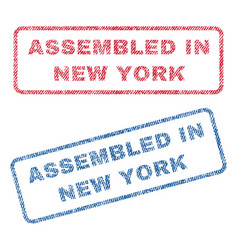 assembled in new york textile stamps vector image vector image