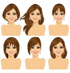 girl with collection of different hairstyles vector image