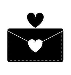silhouette email envelope message love vector image