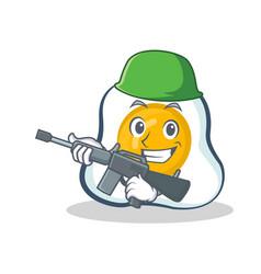 Army fried egg character cartoon vector