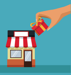color background with store with awning and hand vector image vector image