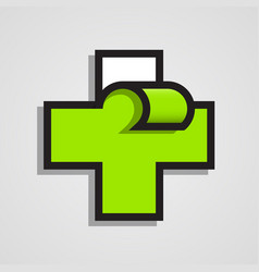 pharmacy abstract green cross clean vector image