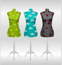 Set of female tailors dummy mannequins vector