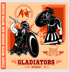 set of gladiators on red background vector image vector image