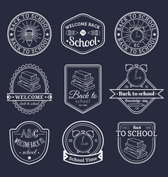 set of vintage back to school labels retro vector image vector image